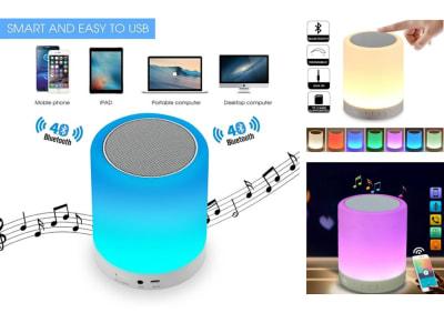 Altavoz Bluetooth con Luz Nocturna, Altavoz Bluetooth Inalámbricos Portátil, Control Táctil, Altavoz LED de color, Luz Mesita Noche, Tarjeta TF, Entrada Auxiliar, Compatible Android y IOS, Uso 10h