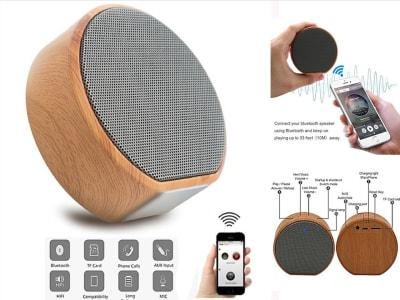 Altavoz Bluetooth Inalámbrico Portátil de Madera, Radio FM, TF, Micrófono Incorporado, Puerto AUX, Compatible Android y IOS, wifi, Karaoke