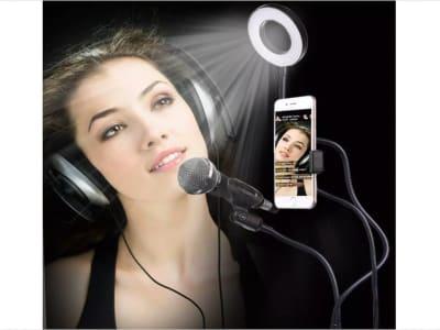 Estudio fotográfico Selfie. Anillo de luz LED con soporte para teléfono móvil. Soporte de trípode para YouTube Live Stream. Maquillaje Lámpara de cámara