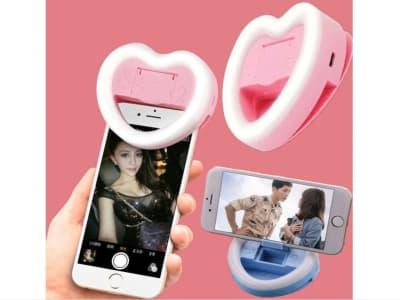Clip forma de corazón para cámara, USB recargable, portátil. Fotografía, Video. Anillo LED para Teléfono móvil para tus Selfies