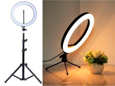 "Set 2 Trípodes, Anillo Luz LED para selfis (10"" – 26cm) para fotografía, videos, etc. Soporte trípode metálico regulable para hacer tus videos, fotos, etc. Profesional para hacer tus videos live"