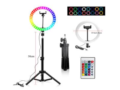 "Anillo de luz LED de colores RGB, 10"" – 26cm, Altura soporte 160cm, luz del anillo arcoíris, USB con trípode, 16 colores de luz para cámara, ideal para transmisión en vivo, calidad profesional"