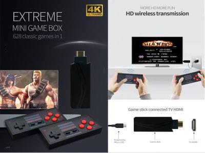 Consola de Videojuegos de TV 4K, 628 Juegos Clásicos incluidos. Mini Controlador Inalámbrico Salida HDMI (Enchúfalo en tu TV y comienza a disfrutar). 2 Mandos para poder disfrutar con amigos