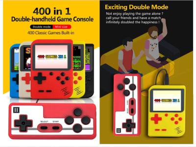 """Videoconsola 3"""" 400 juegos incluidos. Consola de mano de videojuegos retro, Puede jugar donde quieras o en la TV, Impermeabilizante IP67, Ideal para niños, Disponible 5 colores, Mando aparte incluido"""