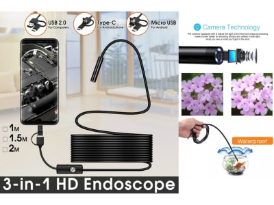 Cámara Endoscopio TIPO C USB 7mm, Cable 1m. Controlador de cable duro flexible. Inspección de boroscopio de serpiente para Teléfono Android, PC