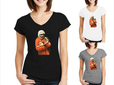 Camiseta Mujer Astronauta Ruso con Laika