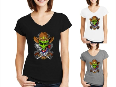 Camiseta Mujer UFO Cowboy