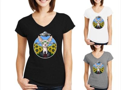 Camiseta Mujer Gato Sphynx Alienígena