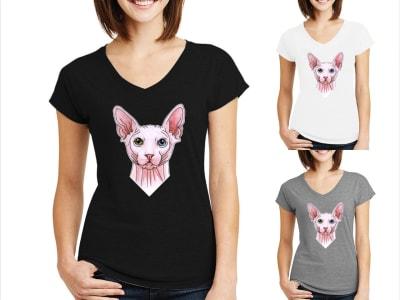 Camiseta Mujer Gato Sphynx