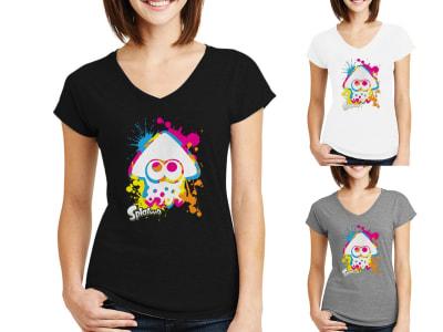 Camiseta Mujer Calamar Kawaii Multicolor
