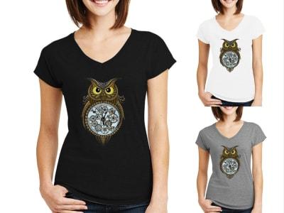 Camiseta Mujer Reloj Búho Steampunk