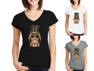 Camiseta Mujer Conejito Bebé Steampunk