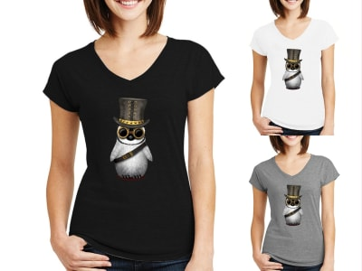 Camiseta Mujer Pingüino Bebé Steampunk