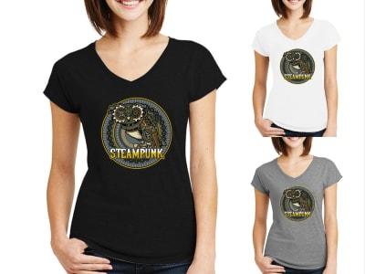 Camiseta Mujer Búho Steampunk con ojos grandes sobre un fondo de engranajes mecánicos