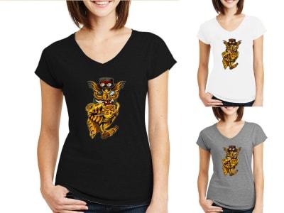 Camiseta Mujer Búho Steampunk dorado