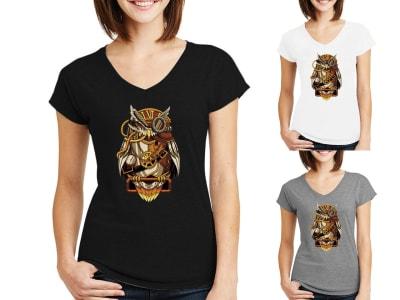 Camiseta Mujer Búho Steampunk Mecánico