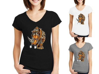 Camiseta Mujer Rinoceronte Steampunk