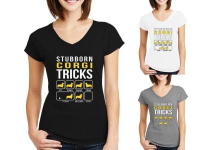 Camiseta Mujer Stubborn Corgi Tricks