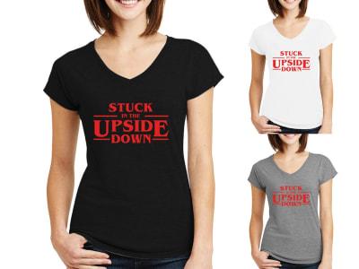 Camiseta Mujer Stuck in the Upside Down - Stranger Things