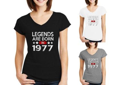 Camiseta Mujer Legends Are Born In 1977