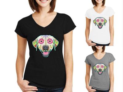 Camiseta Mujer Perro Decorado