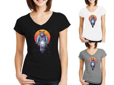 Camiseta Mujer Gato Motorista