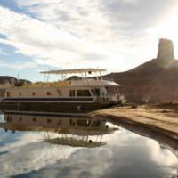 Houseboat reflection at Lake Powell