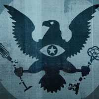 Ominous image of an eagle holding a broken microphone and a broken key, symbolizing the US government destroying free speech and secure encryption