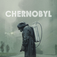 The cover art for the HBO Chernobyl mini-series, showing a liquidator in Pripyat among radioactive fallout