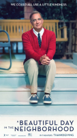 The A Beautiful Day In The Neighborhood movie poster, an image of Tom Hanks (as Mr. Rogers) sitting on some porch steps