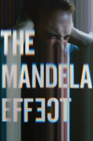 The movie poster for The Mandela Effect: a man holding his head with both hands while the majority of the image is digitally stretched, overlaid with the movie title.