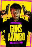 The Guns Akimbo movie poster showing the title and Daniel Racliffe with his gun-hands raised up next to his beaten, bloodied face.