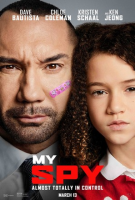 The My Spy poster showing a closeup of Dave Bautista and Chloe Coleman's faces. Bautista has a pink bandage on his face with hearts and unicorns on it.