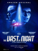 The Vast of Night poster with a classic radio station small building with the radio tower and the two stars faces on either side of it
