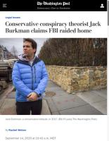 Screenshot of the Washington Post article (headline, image, byline) on Jack Burkman's fake FBI raid