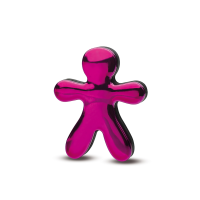 An image of Jeff the air freshener: a little stickman-shaped, fuschia/pink vent-clip air freshener