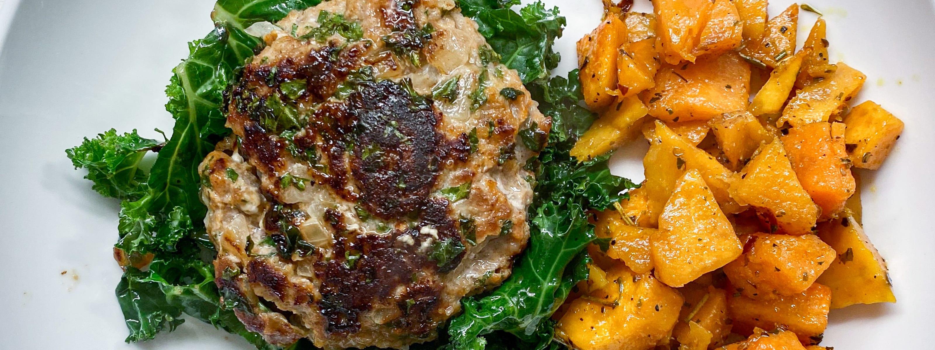 Feta Kale Turkey Burgers