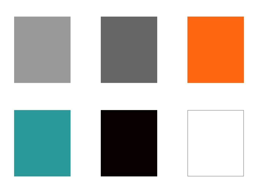 Experience-Kubota-Color-Palette-six-blocks-medgrey-drkgrey-orang-teal-black-white-Rocksauce-Studios
