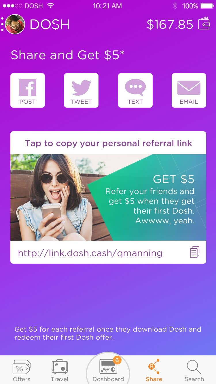 DOSH app Social Share: Referring is a massive part of DOSH Rocksauce Studios