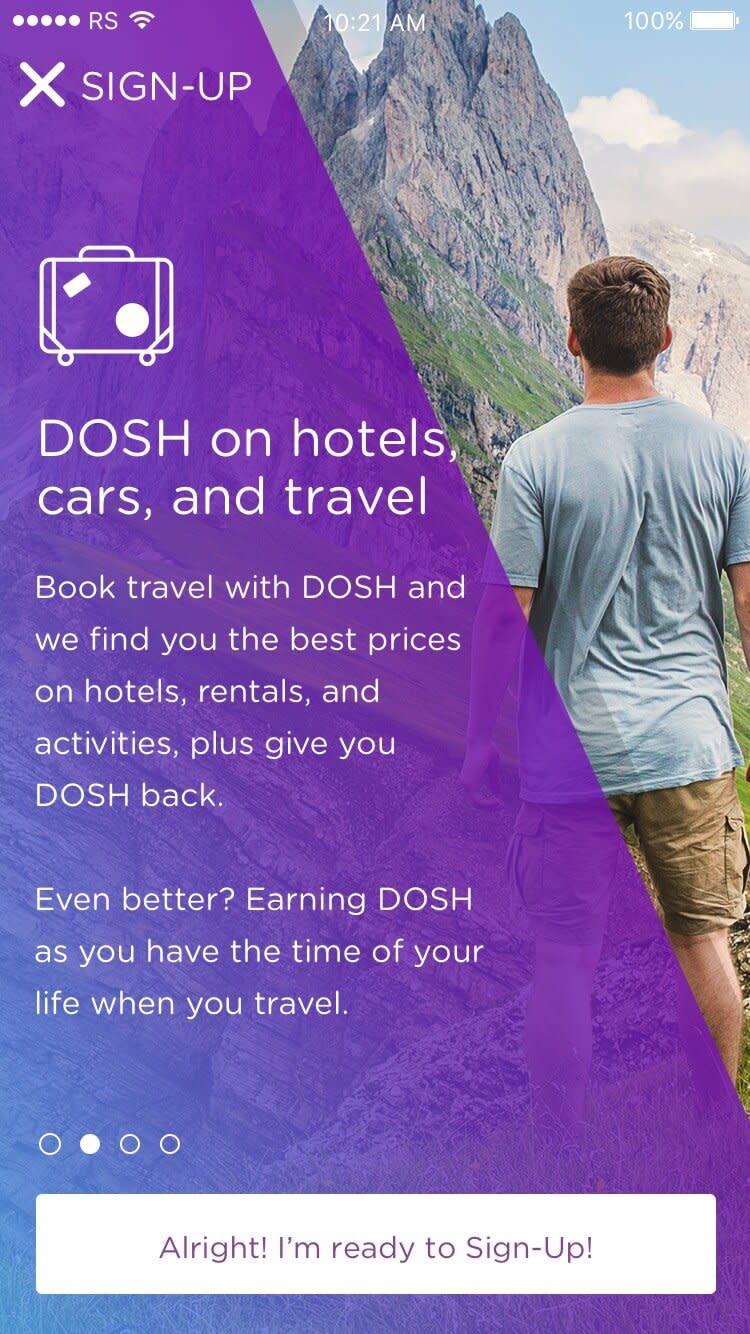 DOSH app Onboarding: Explaining travel Rocksauce Studios