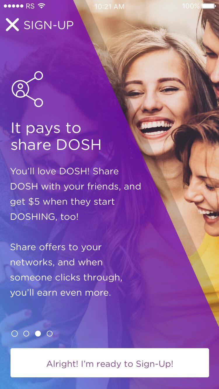 DOSH app Onboarding: Explaining referrals Rocksauce Studios