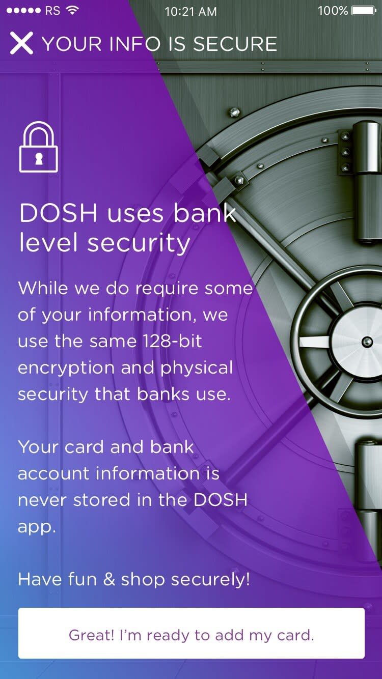 DOSH app Onboarding: Explaining Security Rocksauce Studios