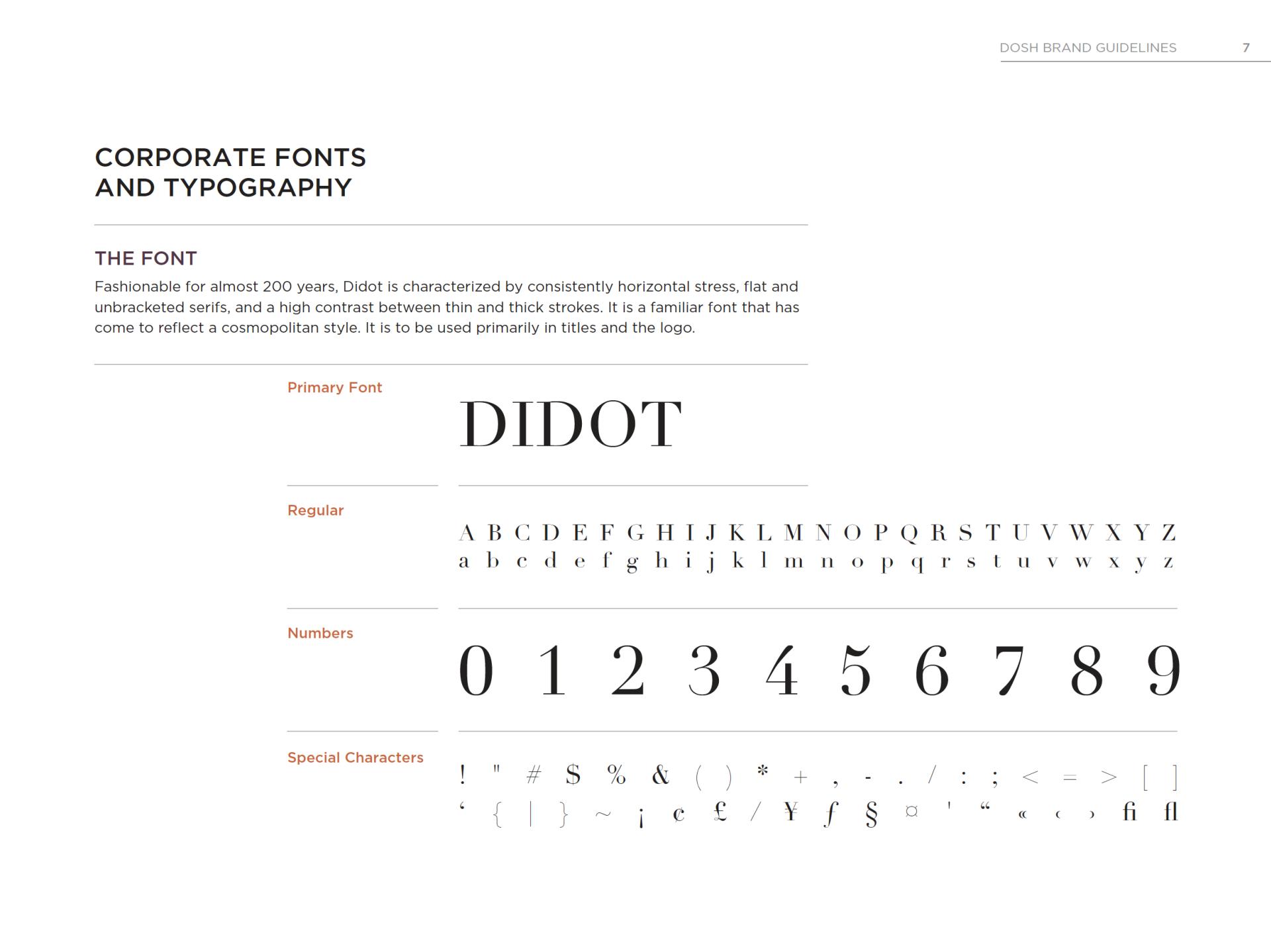 DOSH initial branding font guide used Didot Rocksauce Studios