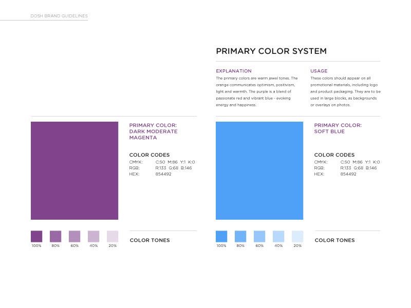 DOSH main color palette