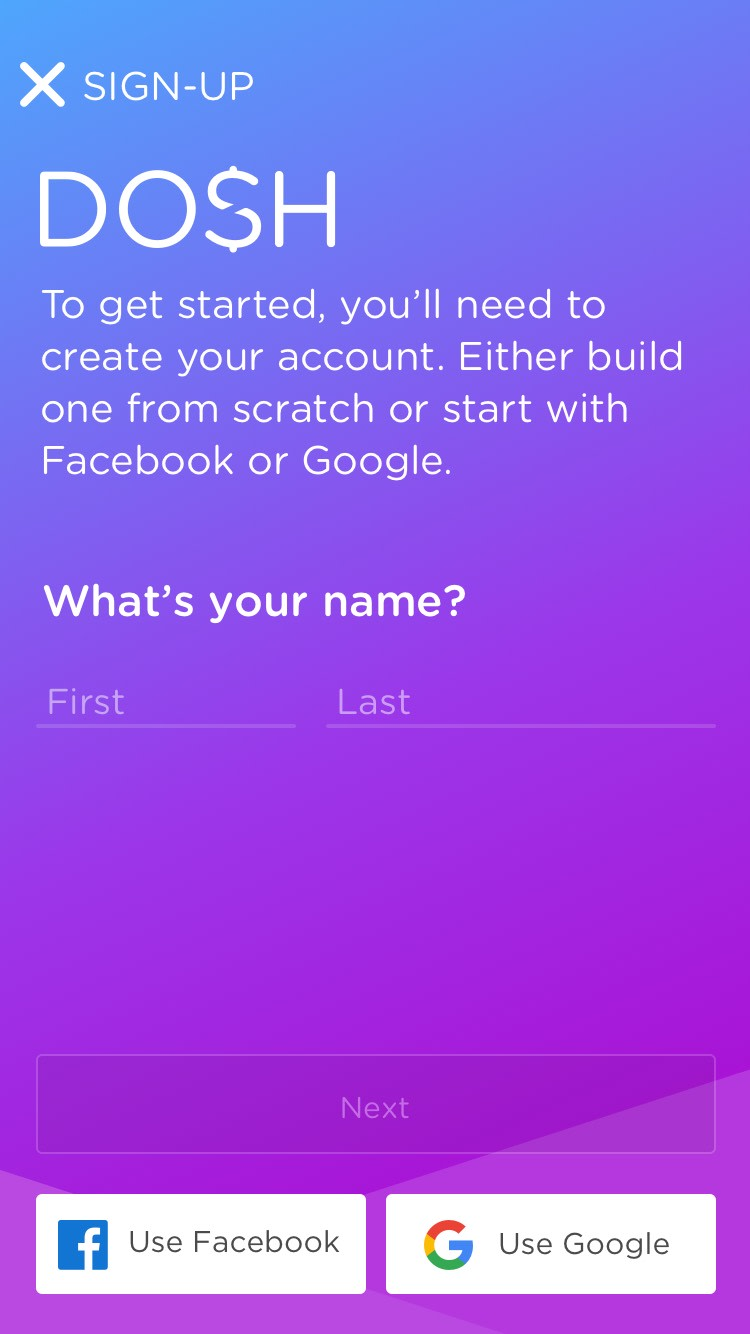 DOSH app SIGN-UP: Getting an account started Rocksauce Studios
