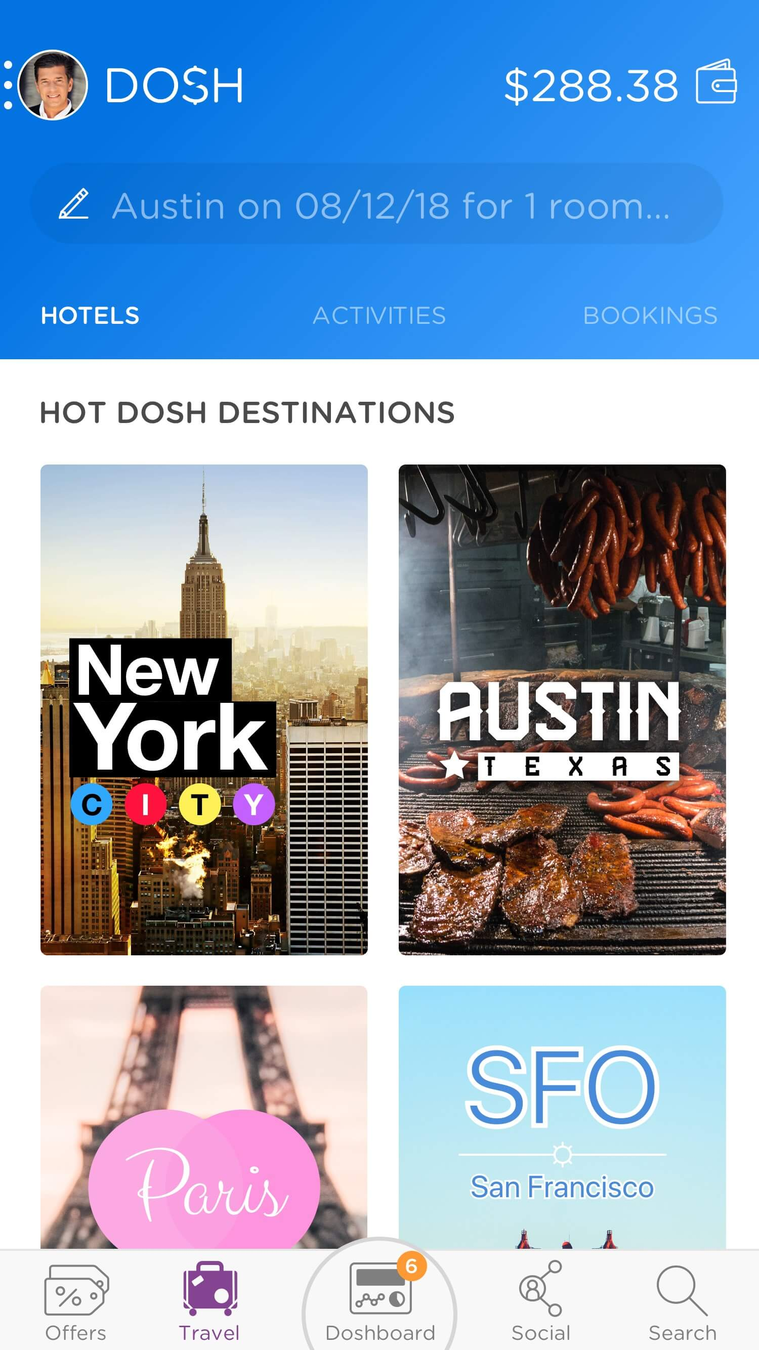 DOSH app Travel: One of the versions of Travel for DOSH, focusing on hot destinations Rocksauce Studios