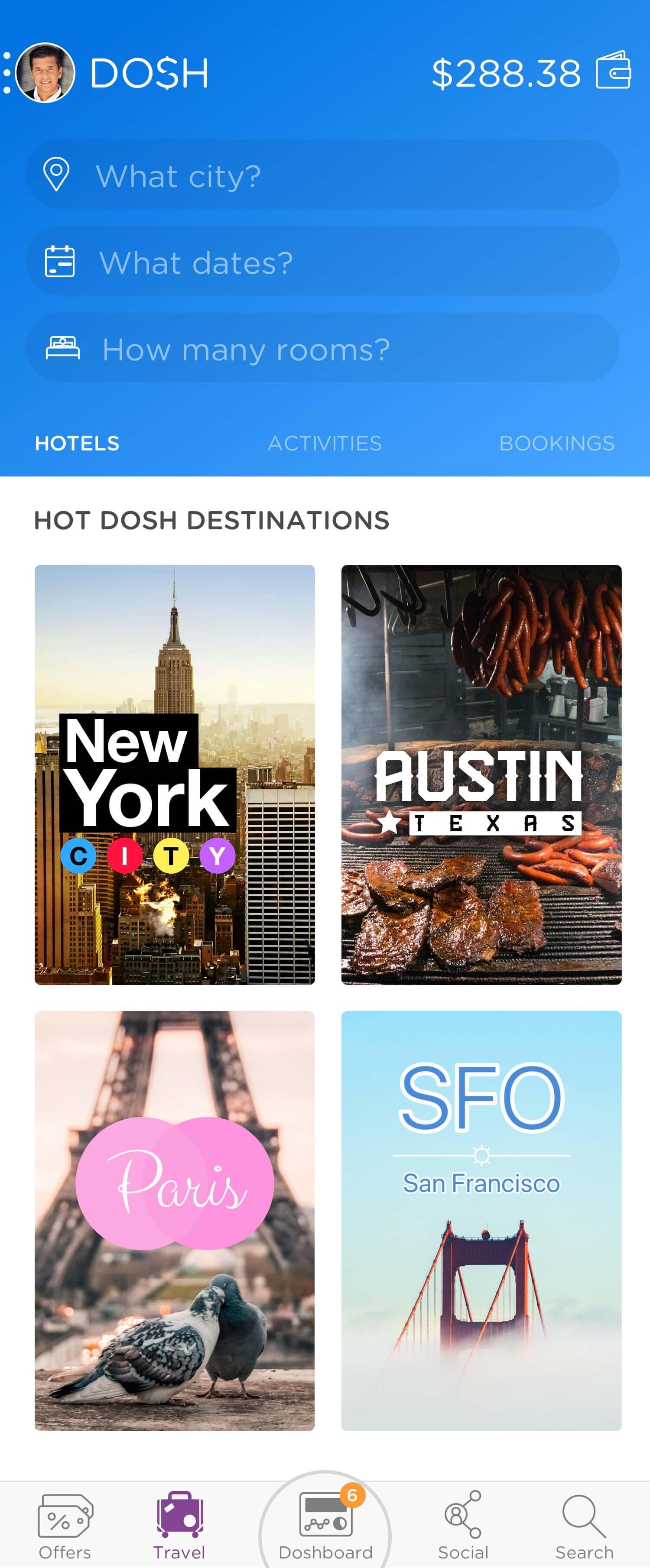 DOSH app Travel: Showing edit mode for destination, date and rooms Rocksauce Studios