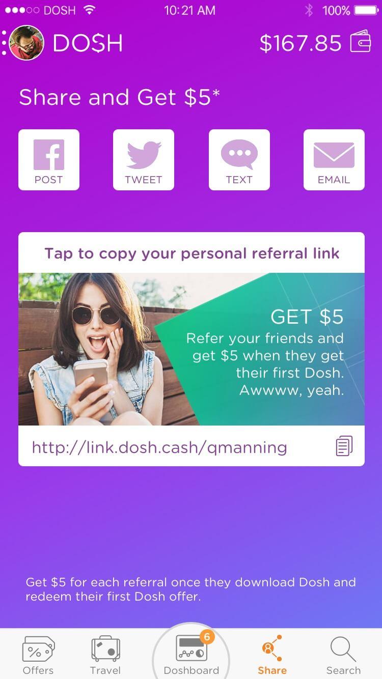 DOSH app Social Share: Referring is a massive part of DOSH Rocksauce Studios