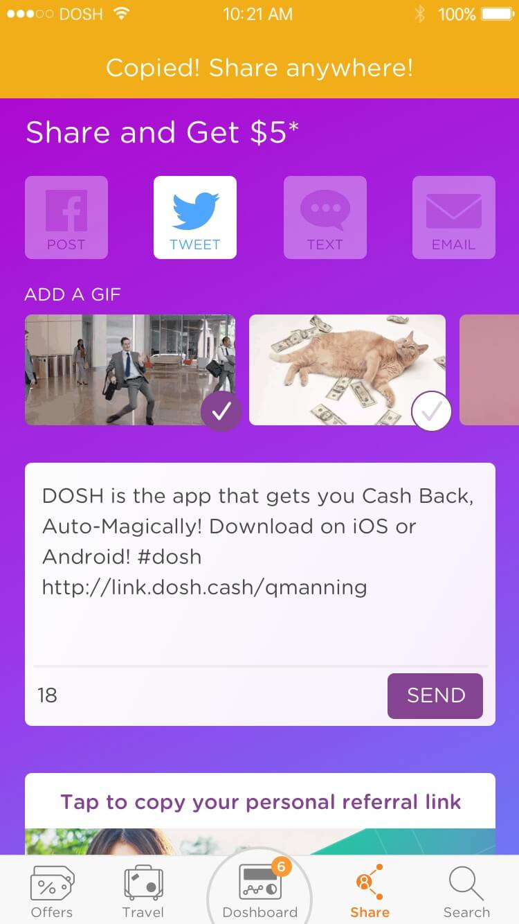 DOSH app Animation Station: For awhile, you could send an animated .GIF along with your social post Rocksauce Studios