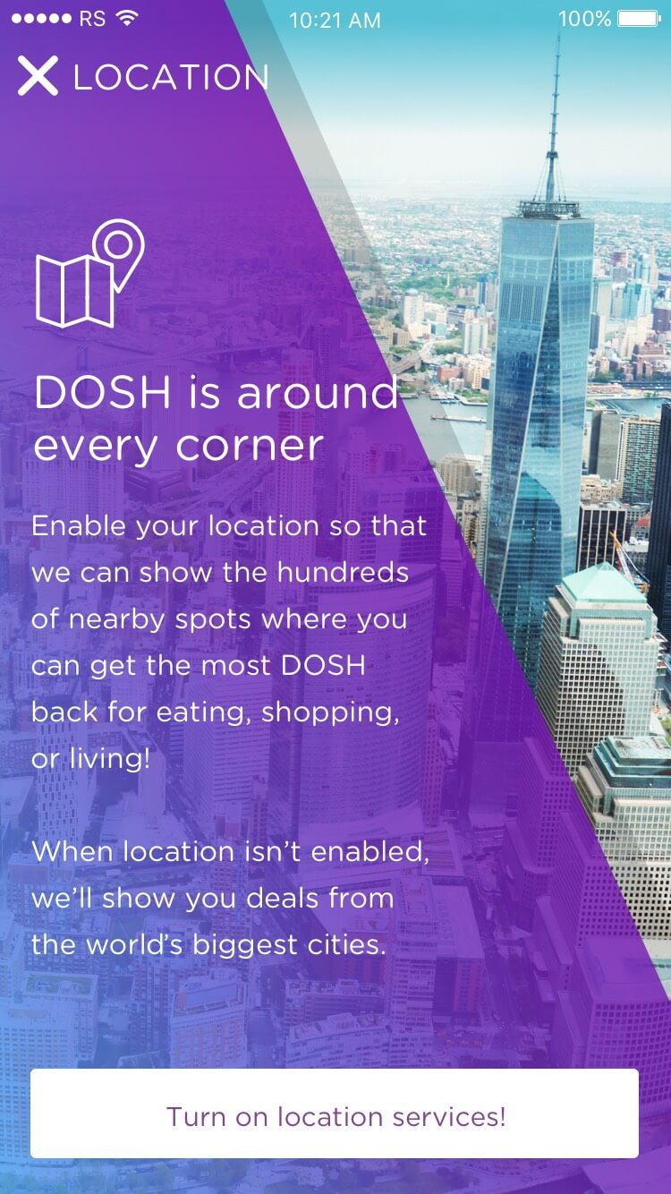 DOSH app Onboarding: Geo-location Rocksauce Studios